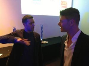 Ryan Verra, George Strombolopolous, talk show host, race car driver charity indycay